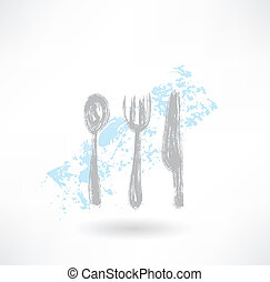 Grey cutlery grunge icon