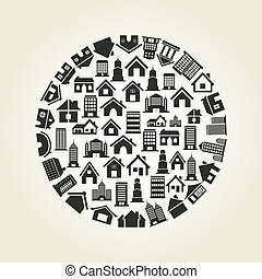 House a circle - Circle made of houses A vector illustration...