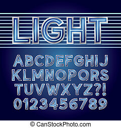 Blue Neon Light Alphabet and Numbers, Eps 10 Vector Editable