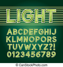 Green Neon Light Alphabet and Numbers, Eps 10 Vector...