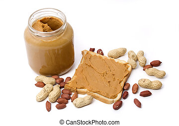 Peanut butter - Slice of bread with peanut butter spread...