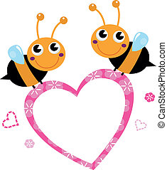 Cute flying Bees with pink love Heart isolated on white