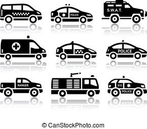 ensemble, service, Automobiles, noir, icônes
