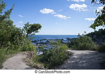 Cliff Edge Overlooking Water and Ma - Pathway to Bluffs...