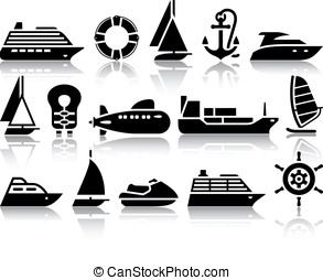 Set of Water transport black icons