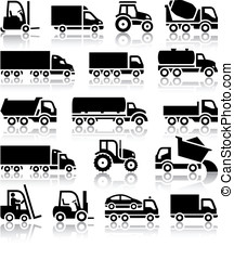 Set of truck black icons Vector illustrations, silhouettes...