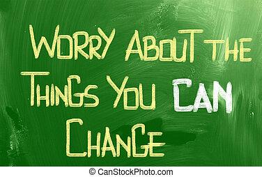 preocupación, sobre, el, cosas, usted, lata, cambio,...