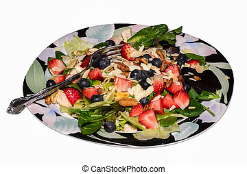Berry Almond Pecan Chicken Salad on a Plate with Fork -...