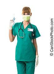 Beautiful female surgeon in mouth mask with injection