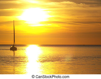 Gold Sail - Sailboat at sunset time.