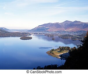 Derwent Water, Cumbria, UK. - View of lake and islands from...