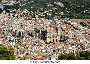 Elevated view of town, Jaen - Cathedral Santa Iglesia...