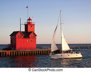 Summer Sail - Sailboat sailing past a red lighthouse.