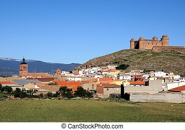 Castle and town, Lacalahorra, Spain - View of the castle,...