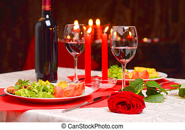 Romantic dinner with candles - Romantic dinner with wine,...
