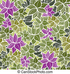 Seamless green leaves pattern background. Vector...