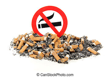 Sign no smoking - Sign on butts of cigarette on a white...