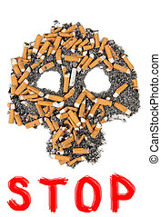 Stop smoking - Silhouette skull of butts and ashes on a...