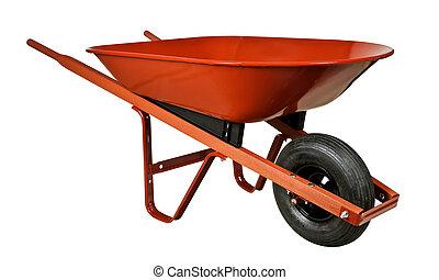 vermelho, carrinho de mão
