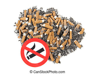 Tobacco - Sign on butts of cigarette on a white background