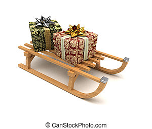 Gifts on sledge - Two fancy Christmas presents on a wooden...