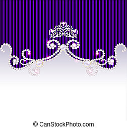 vintage background with crown and jewels - illustration...