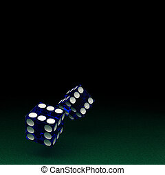 Casino Luck - Two blue semi transparent dice with the number...