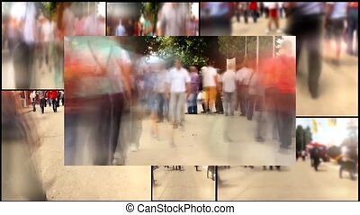 people walking in the cities multi screen