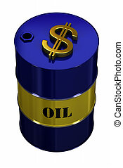 Expensive Oil - Oil barrel with golden dollar symbol on top