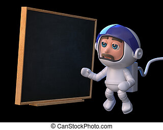 3d Astronaut teaches in space - 3d render of a spaceman...