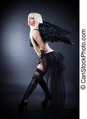 loura, femininas, anjo, pretas, asas, pretas, fundo