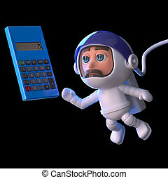 3d Astronaut calculates his trajectory - 3d render of a...