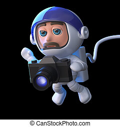 3d Astronaut photographer - 3d render of a spaceman floating...
