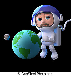 3d Astronaut studies the Earth and Moon - 3d render of a...