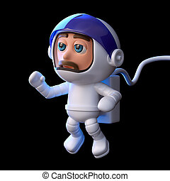 3d Astronaut floats in space - 3d render of a spaceman...