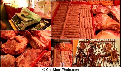 raw meat multi screen - raw meat in the butcher shop