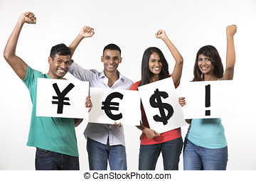 Indian people holding banners with currency symbols spelling...