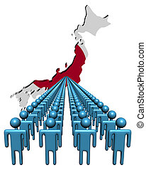 Lines of people with Japan map flag illustration