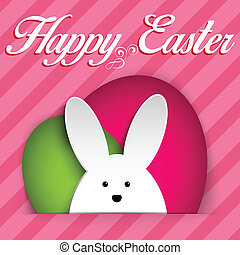 Happy Easter Rabbit Bunny on Pink Background