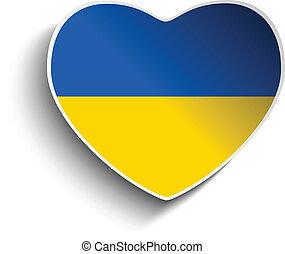 Ukraine Flag Heart Paper Sticker