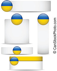 Ukraine Country Set of Banners - Vector - Ukraine Country...