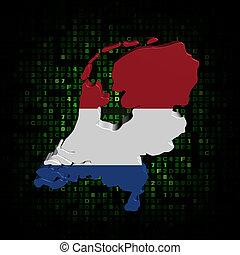 Netherlands map flag on hex code illustration