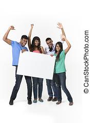 Grupo, indianas, pessoas, bandeira, anúncio