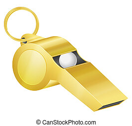 gold whistle - Gold whistle on a white background. Vector...