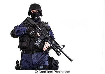 SWAT officer - Special weapons and tactics SWAT team officer...