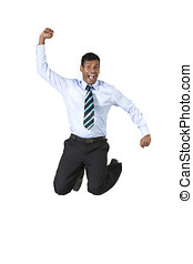 Excited Indian businessman jumping for joy Isolated on white...