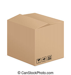 pasteboard box - Cardboard box on a white background. Vector...