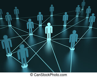 Network People - People interconnected with depth of field...