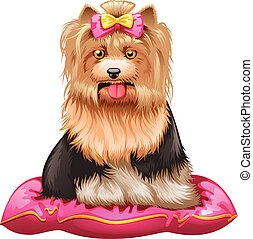 little Yorkshire Terrier on pillow - vector illustration of...