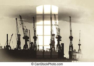 Port of Hamburg - Port cranes in hamburg at sunset